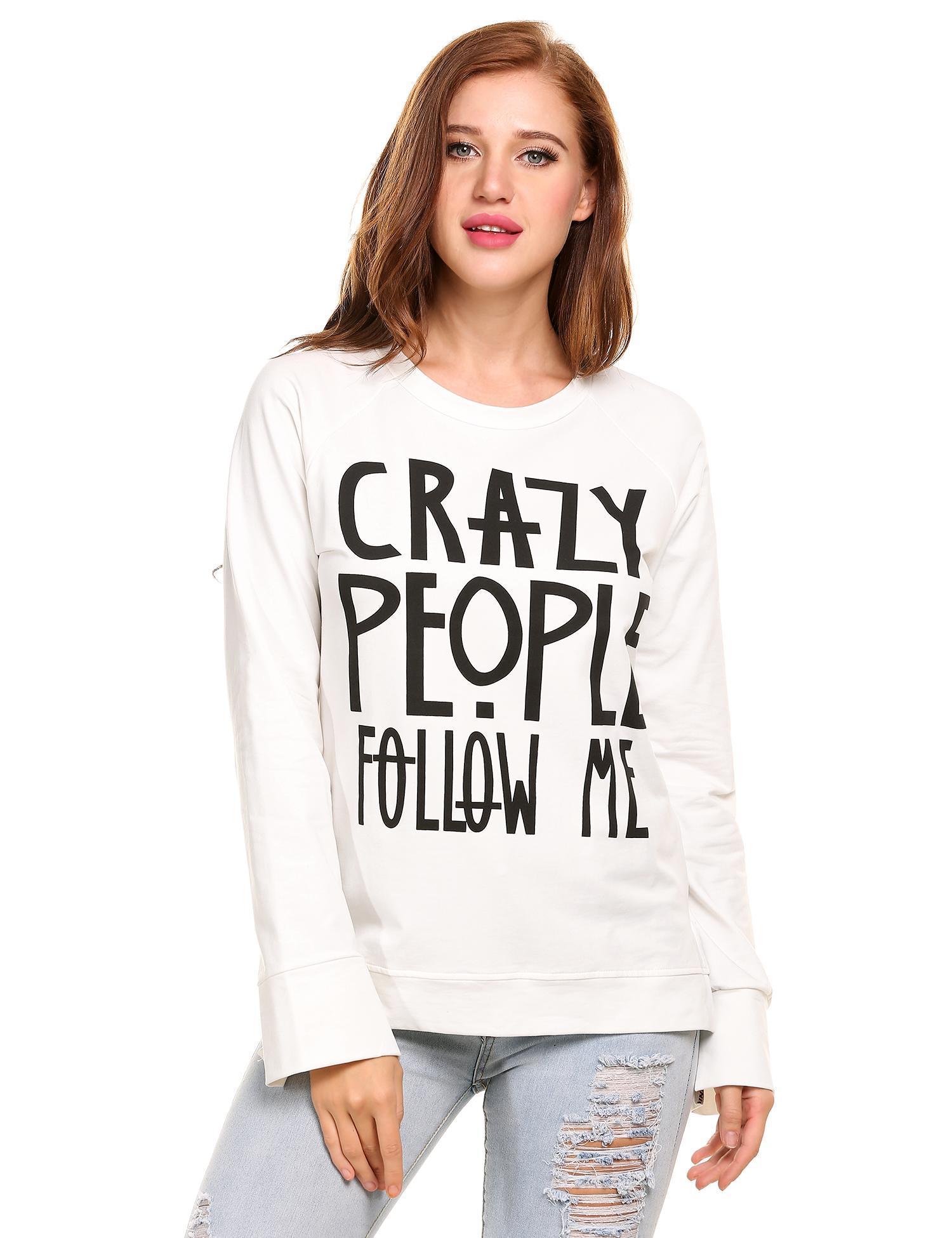 ea305d8245 White O-Neck Print Slit Sweatshirt